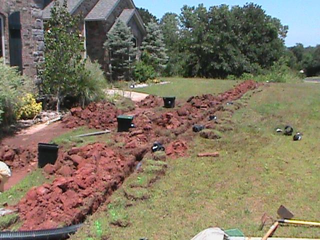 Installing Surface Drain System in Edmond Oklahoma