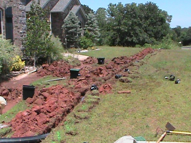 Installing Surface Drain System in Edmond Oklahoma