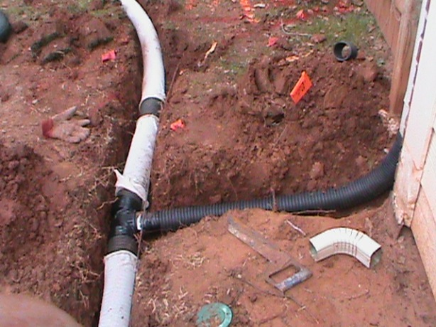 gutter connected to french drain