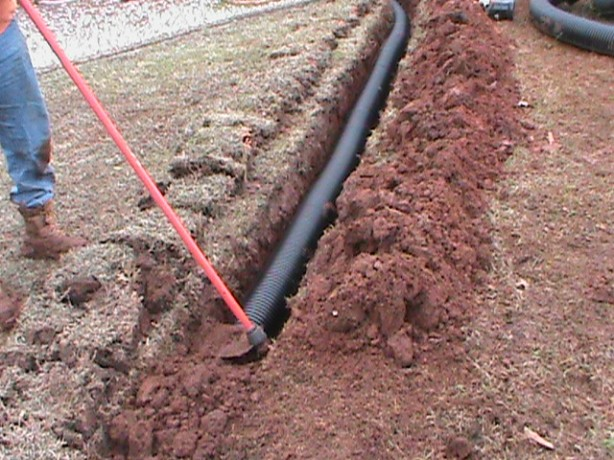 Installing a Drain Pipe For a French Drain that Releases water through a Pop-Up Emitter at the Street