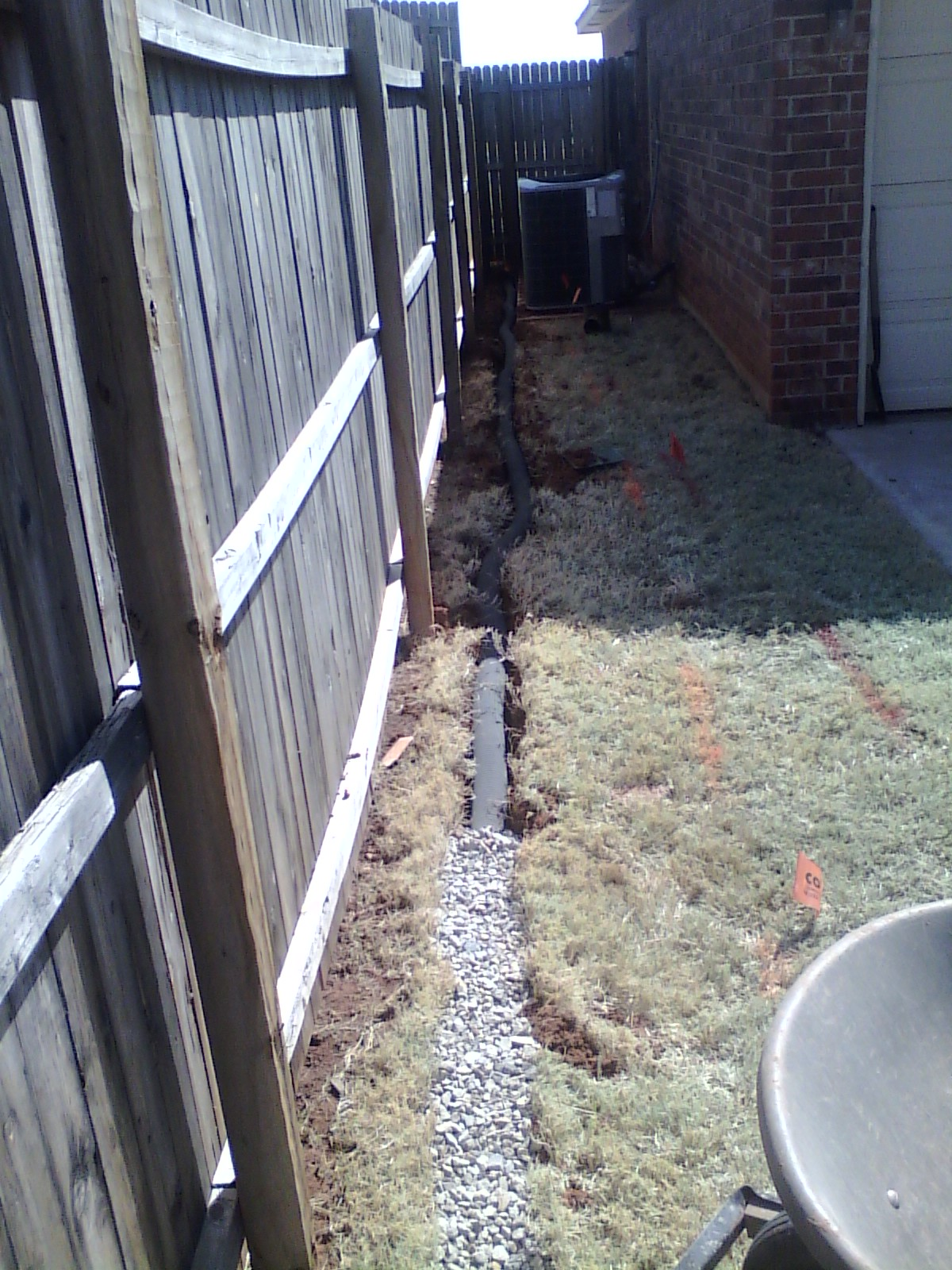 Sprinkler systems french drain norman oklahoma city for Fix drainage in yard