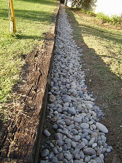 French Drain covered with River Rock.