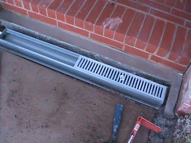 Channel Drain Installation in sidewalk in Oklahoma City