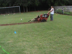 Trenching a Sprinkler Systems in Moore Oklahoma