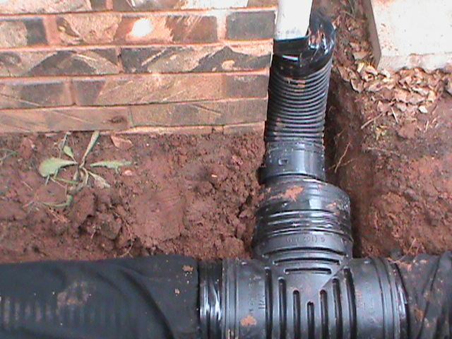 Gutter connected straight into 6 inch French Drain System in Oklahoma City
