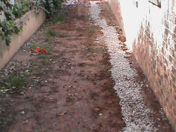 French Drain Installed along a foundation
