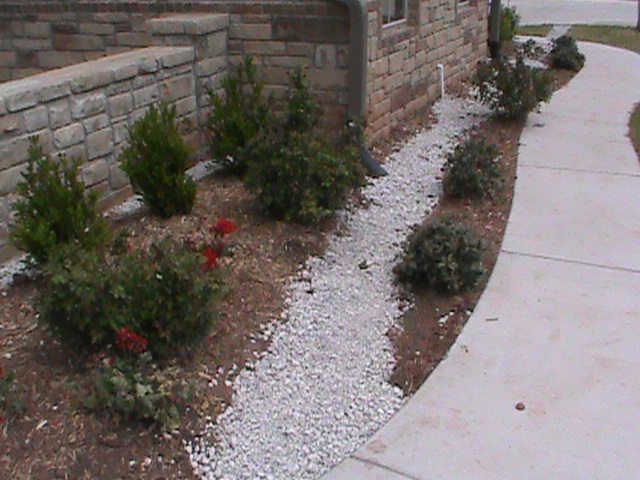 French Drain in flowerbed