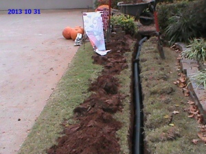 Drain Pipe Installed Under Siedwalk