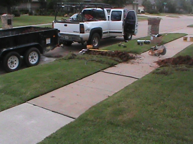 Running French Drain Pipe Under Sidewalk