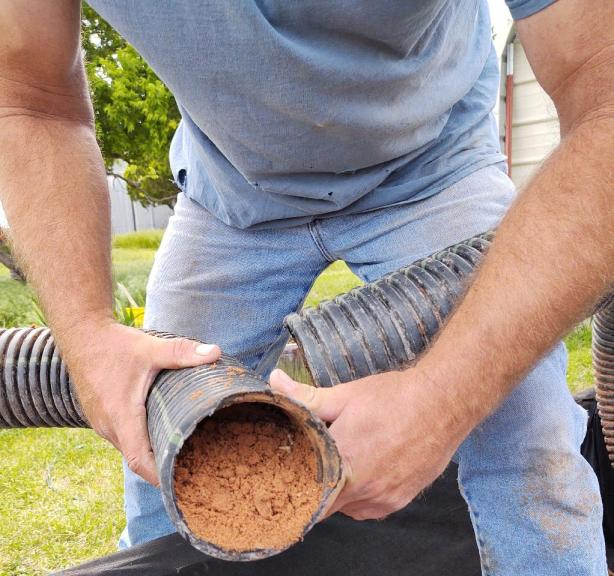 clogged French Drain Pipe