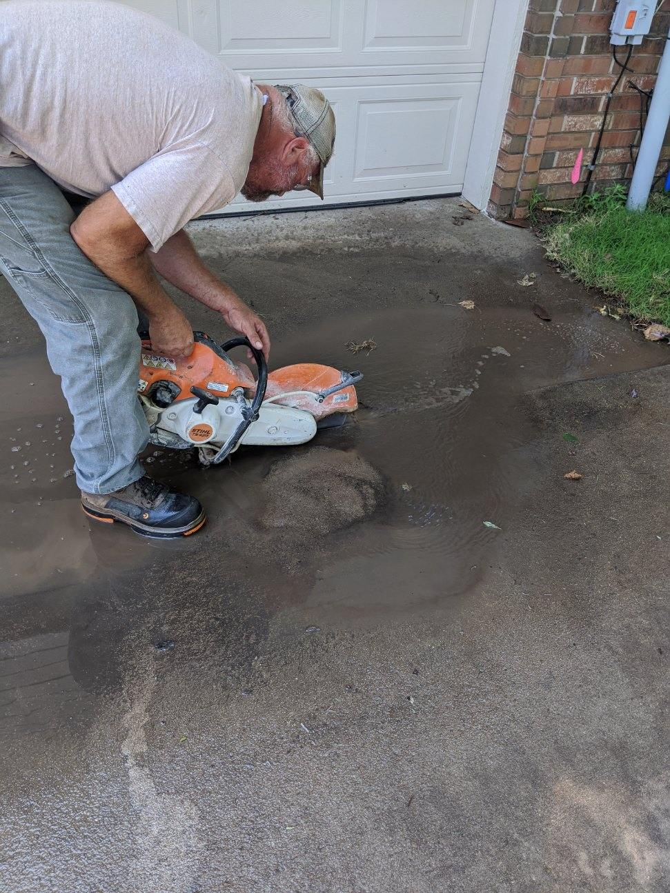 cutting concrete for channel drain