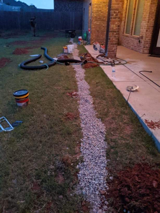French drain near patio