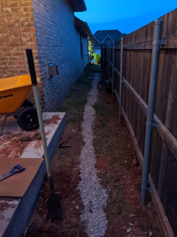 French Drain on left