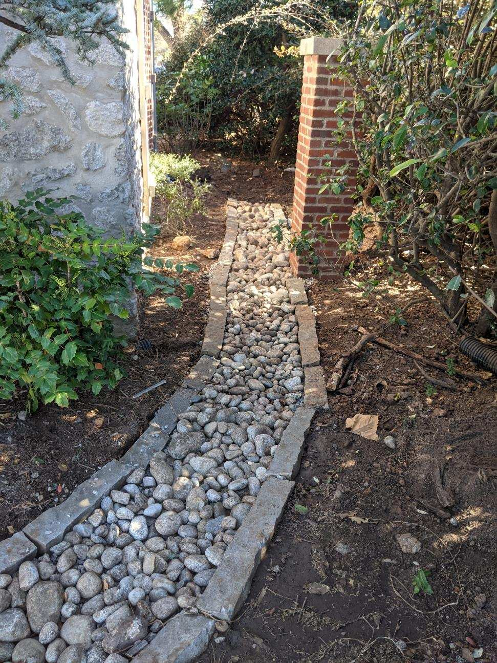 French Drain under river rock